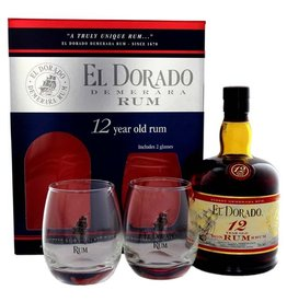 El Dorado Rum 12 Years Old 700ml + 2 Glasses Gift box