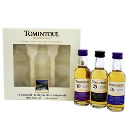 Tomintoul Triple Pack  10YO 16 Years Old 25 Years Old  Miniatures 3x50ml