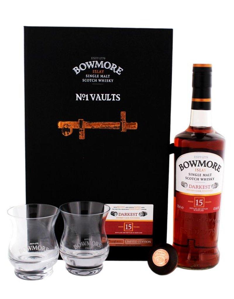 Bowmore Bowmore Darkest 15 Years Old Malt Whisky Giftset 700ml + 2 glasses Gift Box