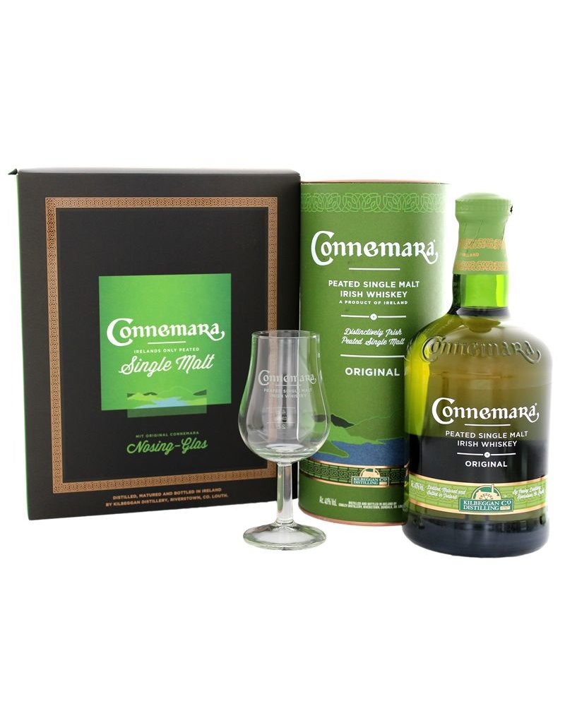 Connmara Peated Single Malt 700ml + Nosing Glas Gift Box