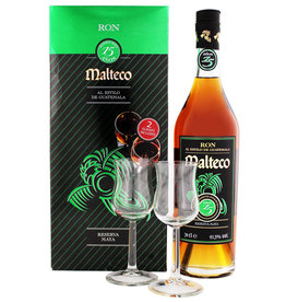 Malteco 15 years old rum + 2 glasses