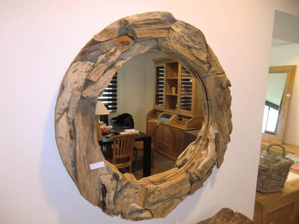 Spiegel Rond Hout : Spiegel met een rand bestaande uit brokken wortelhout decomeubel