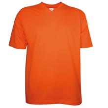 Oranje T-shirts met V-hals met korte mouw (100% katoen)