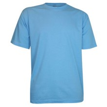 ♣ Goedkope lichtblauwe T-shirts met korte mouw en ronde hals (100% katoen)