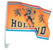 Funny Holland collectie 2017 │ Oranje Holland autoraam vlaggen (voorzien van een witte plastic autoraamhouder)