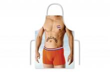 Funny Holland collectie 2017 │ Keukenschorten met een afbeeldiing van een Sexy Man en de tekst HOLLAND op de buik en een vlag op de borst