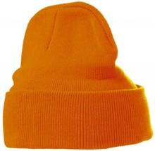 ♣ Goedkope oranje gebreide winter mutsen (uni volwassen maat, rekbaar)