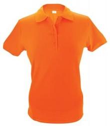 Goedkope Poloshirts kopen? Goedkope oranje dames poloshirts (polo pique) leverbaar in de maten S - XXL