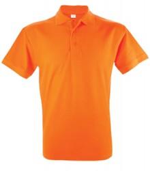 Goedkope Poloshirts kopen? Goedkope oranje heren poloshirts (polo pique) leverbaar in de maten S - XXL