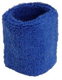 ♣ Kobaltblauwe elastische badstof polsbandjes (geschikt voor borduring van een logo en/of tekst)