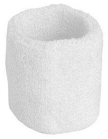 ♣ Witte elastische badstof polsbandjes (geschikt voor borduring van een logo en/of tekst)