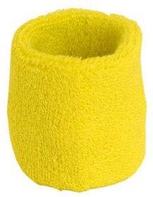 ♣ Gele elastische badstof polsbandjes (geschikt voor borduring van een logo en/of tekst)