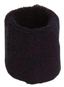 ♣ Donkerblauwe elastische badstof polsbandjes (geschikt voor borduring van een logo en/of tekst)