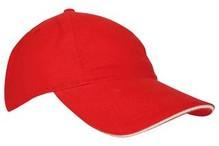♣ Baseballcaps voor kinderen in de kleur rood met naturel accenten