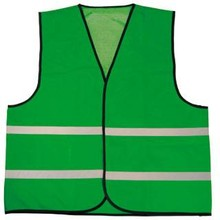 Groene reflecterende veiligheidshesjes met klittenbandsluiting (100% knitted polyester, 120 gr/m2)