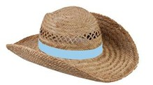 ♣ Goedkope echte Strohoeden met een lichtblauw gekleurde band kopen!