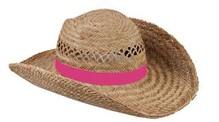 ♣ Goedkope echte Strohoeden met een roze gekleurde band