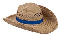♣ Goedkope echte Strohoeden met een blauw gekleurde band