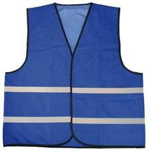 ♣ Goedkope blauwe veiligheidshesjes met refleceterende strepen (100% knitted polyester, 120 gr/m2)