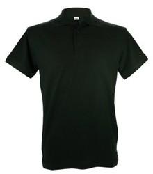 Zwarte heren Poloshirts (100% katoen, polo pique, korte mouw en voorzien van 2 zijsplitjes)