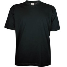 ♣ Zwarte T-shirts met V-hals met korte mouw (100% katoen)