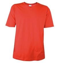 ♣ Rode T-shirts met V-hals met korte mouw (100% katoen)