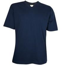 ♣ Donkerblauwe T-shirts met V-hals en korte mouw (100% katoen)