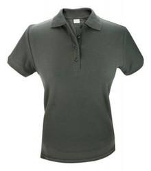 ♣ Katoenen donkergrijze dames polo pique Poloshirts (maten S t/m XXL)