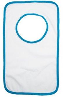 ♣ Witte kinder slabbetjes met een blauw biesje (kwaliteit 220 gr/m2, cotton jersey, 1 uni kinder maat)