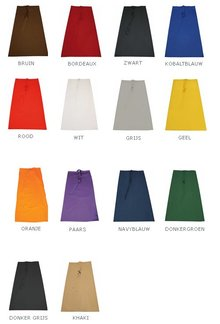 Professionele lange sloven (afmeting 96 (breedte) x 100 (hoogte), materiaal 65% Polyester / 35% Cotton, kleurecht)