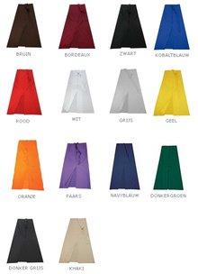 Professionele lange keukensloven met split (afmeting 120 (breedte) x 100 (hoogte), materiaal 65% Polyester / 35% Cotton, kleurecht)