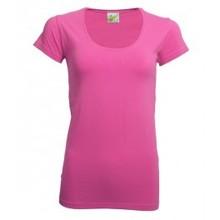 Moderne dames T-shirts (bodyfit) met verlaagde ronde hals en korte mouw