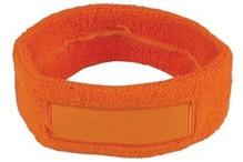 ♣ Goedkope oranje badstof hoofdbanden voorzien van een vlak gedeelte (geschikt voor bedrukking of borduring van een logo en/of tekst)