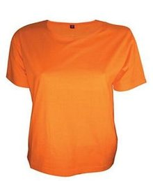 Modieuze licht getailleerde oranje dames T-shirts (100% katoen)