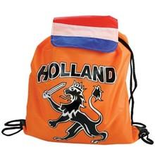 Funny Holland collectie 2017 │ Goedkope oranje nylon rugzakjes voorzien van de tekst Holland en de Hollands leeuw (afmeting 34 x 42 cm)