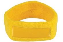 ♣ Goedkope gele badstof hoofdbanden voorzien van een vlak gedeelte (geschikt voor bedrukking of borduring van een logo en/of tekst)
