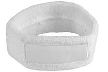 ♣ Goedkope witte badstof hoofdbanden voorzien van een vlak gedeelte (geschikt voor bedrukking of borduring van een logo en/of tekst)