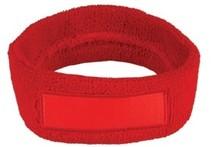 ♣ Goedkope rode badstof hoofdbanden voorzien van een vlak gedeelte (geschikt voor bedrukking of borduring van een logo en/of tekst)