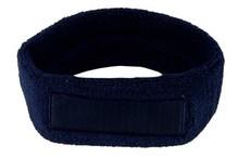 ♣ Goedkope donkerblauwe badstof hoofdbanden voorzien van een vlak gedeelte (geschikt voor bedrukking of borduring van een logo en/of tekst)