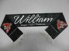 ♣ Polyester sjaaltjes met logo, afbeelding en/of tekst, voorzien van franjes aan beide zijden (afmeting 108 x 13 cm)