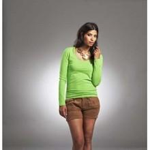 Trendy dames T-shirts met lange mouw en verlaagde ronde hals (bodyfit)