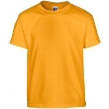 ♣ 100% katoenen Fair Trade T-shirts in de kleur goudgeel (met korte mouw en ronde hals)