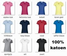 ♣ Fair Trade dames T-shirts met V-hals, korte mouw en ronde hals (slank gesneden)