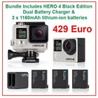 GoPro HERO 4 Black 3 Batteries + Dual Charger
