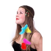 Head Strap hippie / ibiza with beads and feathers multicolour