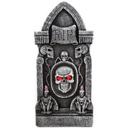Tombstone with RIP skeleton with light