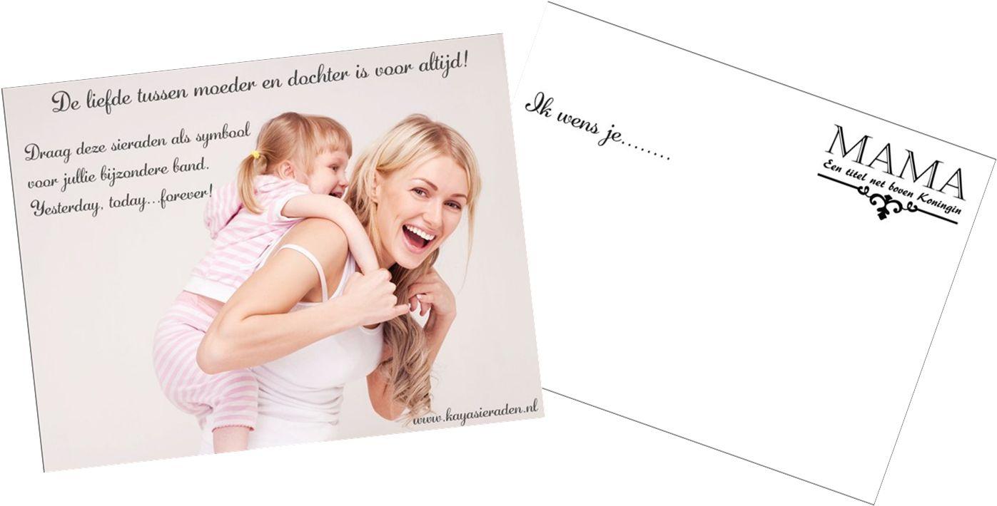 Bij elke moeder dochter set ontvang je een wenskaart!