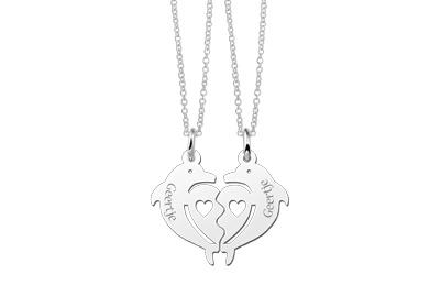 KAYA sieraden 2 zilveren dolfijnen kettingen voor vriendinnen of zusjes