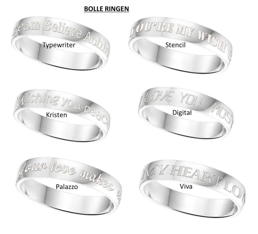 KAYA sieraden Text Silver Ring 4mm * free engraving *