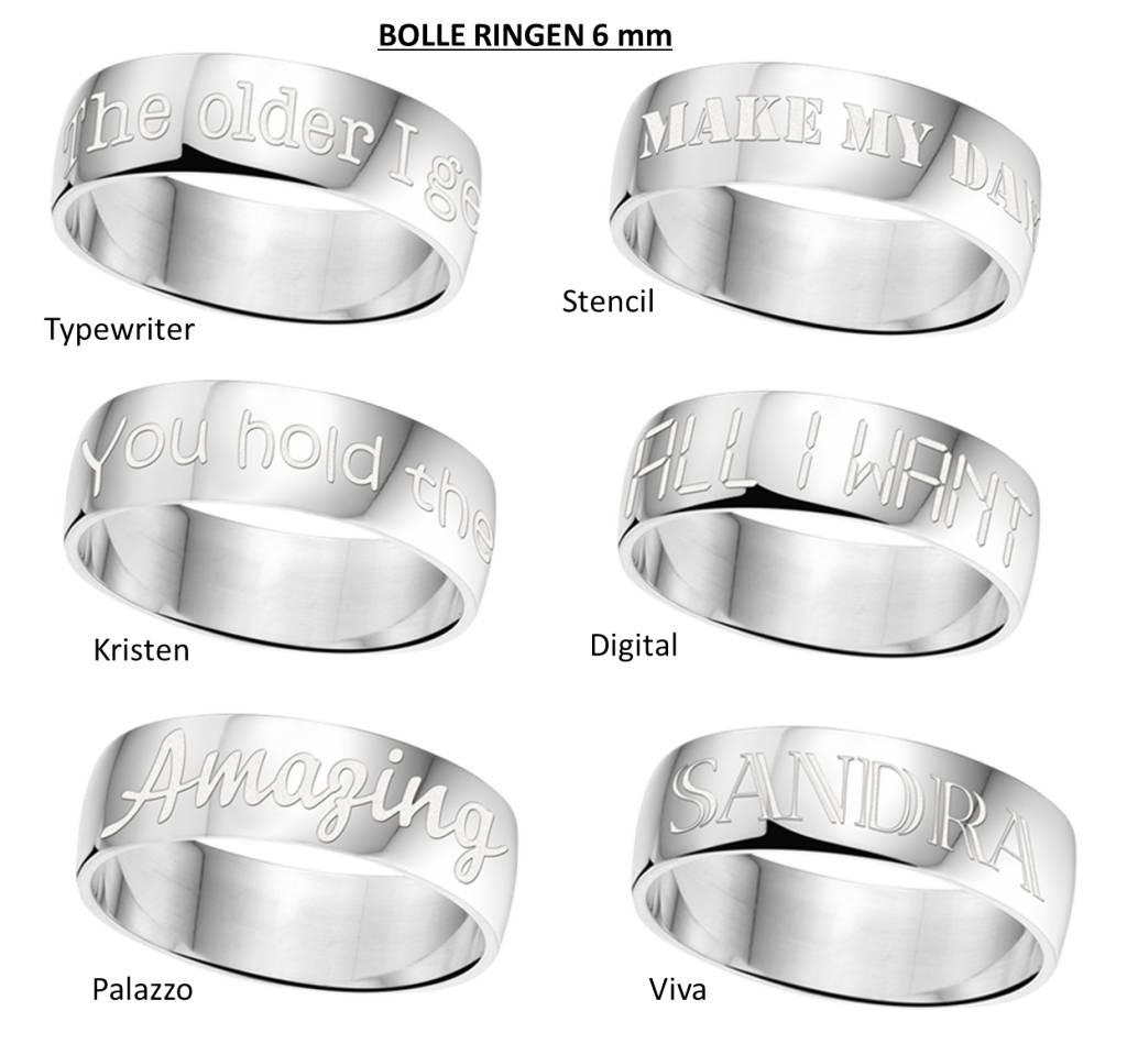 KAYA sieraden Text Silver Ring 6mm * Free engraving *